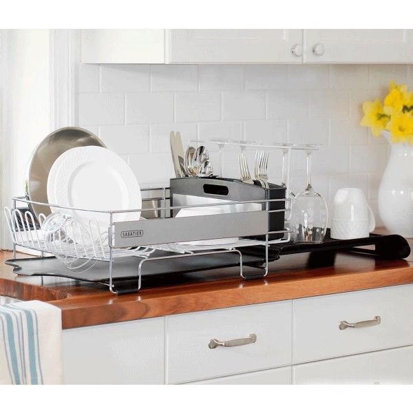 Sabatier Expandable Compact Dish Rack with Stemware Rack